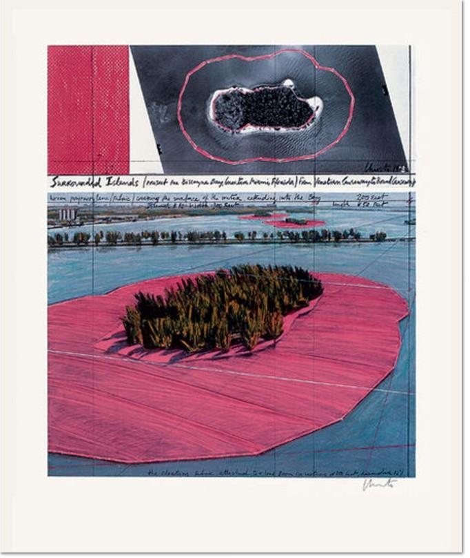Christo and Jeanne-Claude- Surrounded Islands, 1980 - 83, Vierfarbenoffset im Nass-in-Nass-Verfahren auf weißem Büttenkarton, durch Christo handsigniert, Gesamtauflage vom Künstler nicht benannt, Bildformat: 72,5 x 61,5 cm, Blattformat 100 x 69,5 cm.