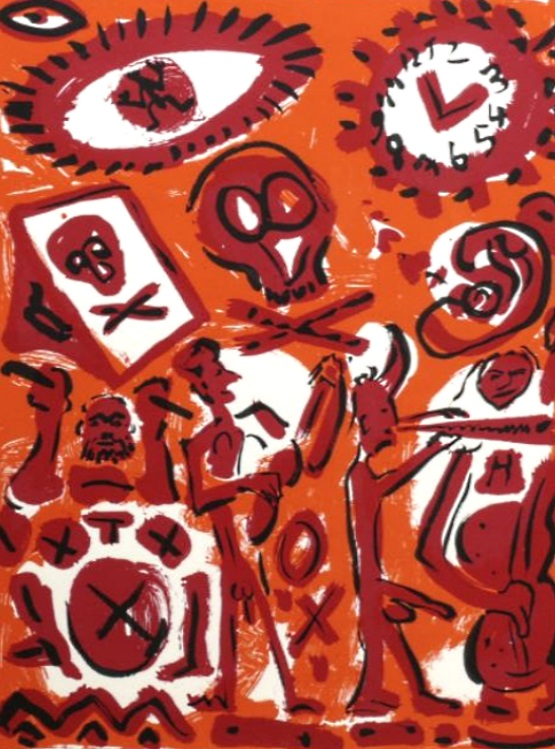 A R Penck - Session in Orange, Farbserigraphie, im Rahmen ca. 133 x 103 cm
