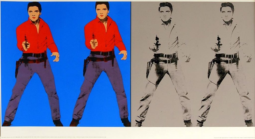 Double Elvis by Andy Warhol, offset lithograph, Paper size: 21 x 39.1/2 inch (53.5 x 99.7 cm) Images size: 18.3/4 x 19.1/4 in. (49.1 x 48 cm) very good condition