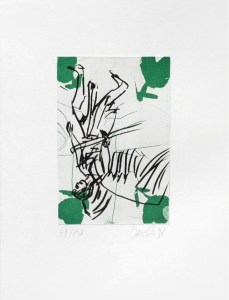 Georg Baselitz: 'Der Bote', 1998, Etching, signed and numbered in pencil, edition of 130, paper size : 17x13 in (44x32 cm), image size : 9x6 in (23x15 cm)