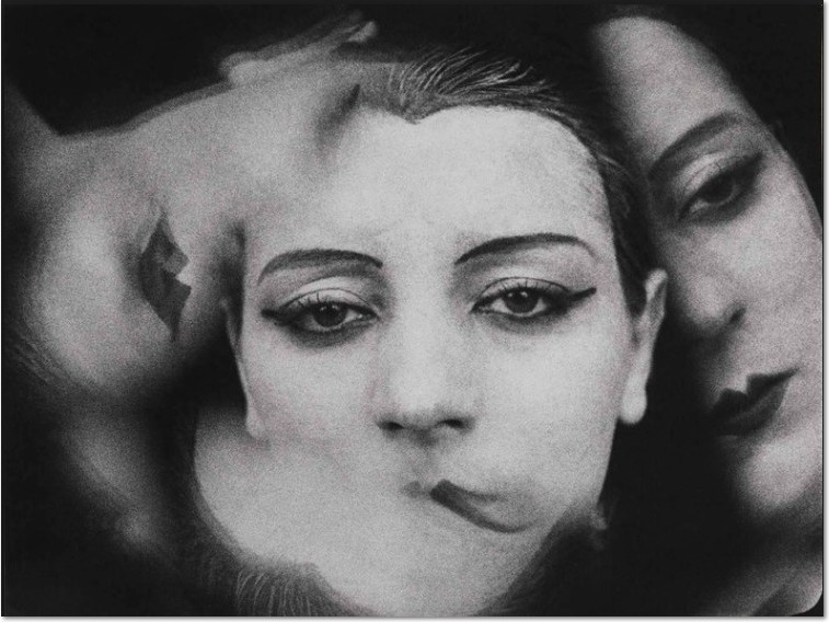 "Man Ray Kiki de Montparnasse, 1924 Theme: Women - photogram (image from a movie) triple portrait woman close-up on face extract from Fernand Leger's ""Ballet Mecanique"" superimposition"