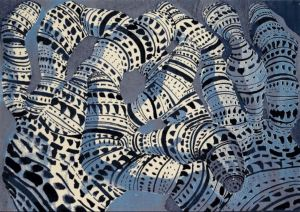 Tony Cragg: 'Form Code (Blue), 2006, Tapestry (heavy handwoven textile), signed, numbered, edition of 36, size: 240 x 340 cm / 94.5 x 133.9 in