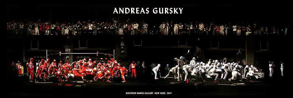 """Andreas Gursky: """"F1 Boxstop I"""", Offsetprint, size: 40 x 120 cm, produced exclusively for the Exhibition """"Andreas Gursky"""" in New York, 2007"""