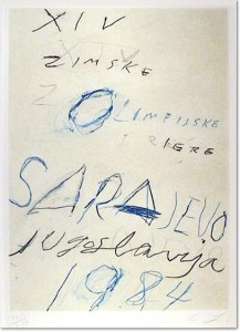 Cy Twombly - Sarajewo, 1984., etching with aquatint and lithograph printed in colours, 1984, signed, inscribed 'right to print' and dated 83 in pencil, the bon a tirer proof before the edition of 150, on wove paper, with full margins, 765 x 545 mm (30 1/8 x 21 1/2 in)