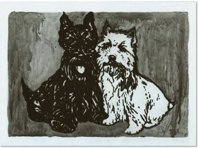 Peter Doig : 'Double Dog', 2012, etching, aquatinta, monogrammed, numbered and dated, edition of 20, picture size : 25.6 x 36.5, total size : 30 x 40 cm.