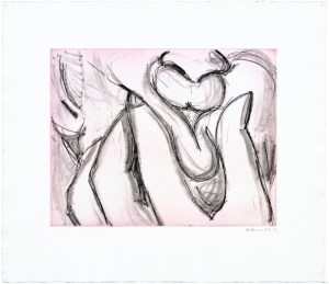 """Bruce Nauman Soft Ground Etching - Lavender, 2007 2 color etchings 29 1/2"""" x 39"""" (74.93 x 99.06 cm) Edition of 50"""