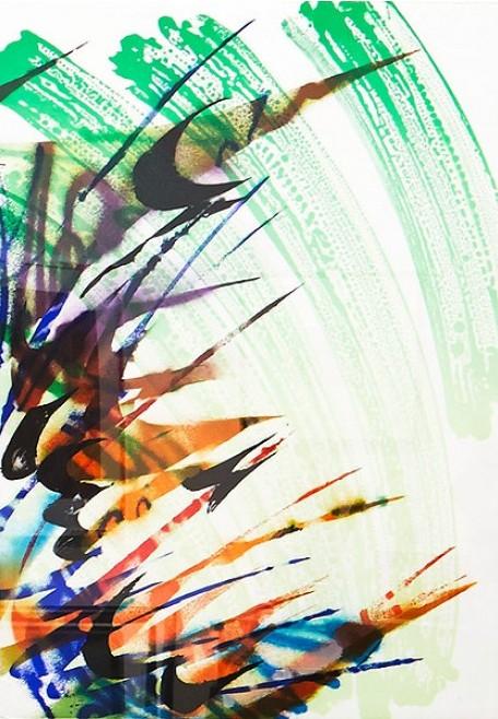 Katharina Grosse - Cokeypane I, Lithographie, handsigniert, nummeriert, Format: 100 x 70 cm, lim. Auflage: 11, signiert, nummeriert