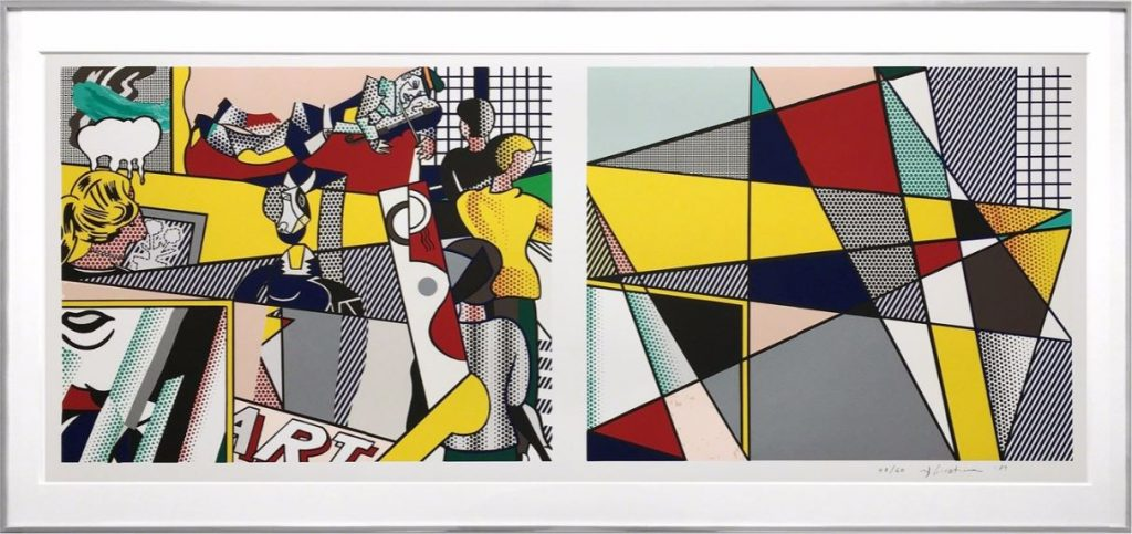 "Roy Lichtenstein: 'Tel Aviv Museum print (Cortlett 238)', 1989, Lithograph on Rives BFK paper, edition of 60, signed and dated ""rf Lichtenstein '89"" in pencil lower right, numbered, size: 26 1/4 × 56 1/2 in, 66.7 × 143.5 cm. Printed by Tyler Graphics Ltd. Literature: M. Corlett, The Prints of Roy Lichtenstein: A Catalogue Raisonne 1948-1993, New York, 1994, no. 238 another impression reproduced in color."