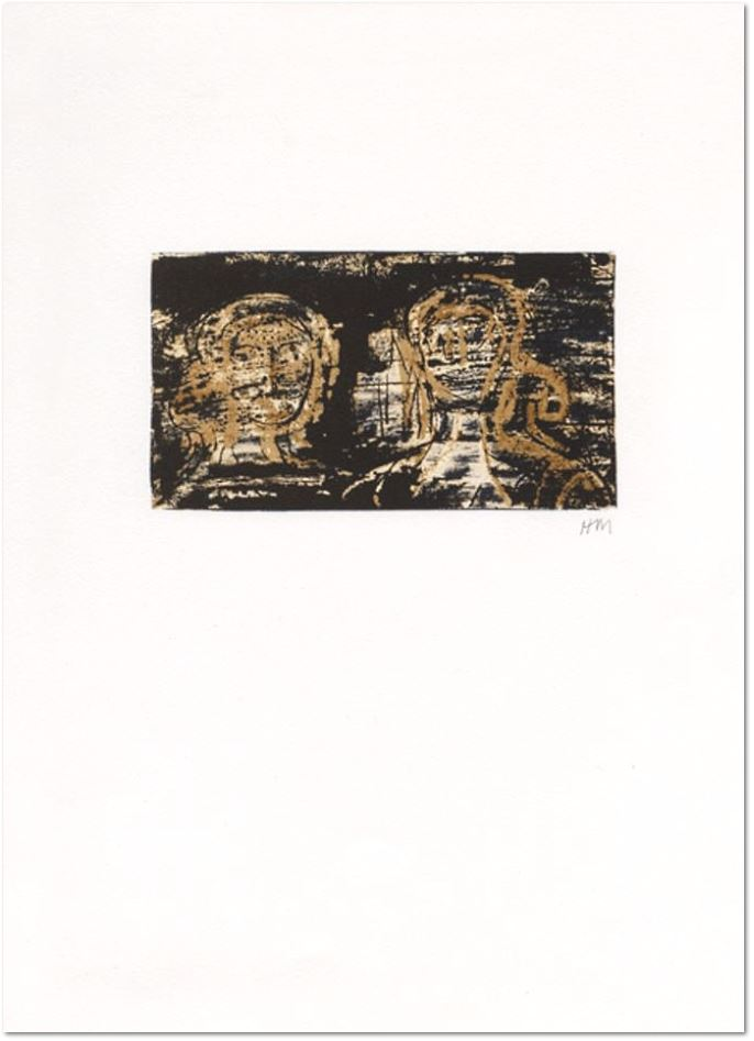 "Henry Moore: Two heads, 1973, Original Lithograph in 3 colors, signed with the artist's monogram in pencil, extracted from the book ""La Poésie"". Art et poésie Ed., Paris, edition of 45 copies on Arches and 45 copies on Japanese paper, unnumbered, picture size: 19 x 11,4 cm, sheet: 38 x 47 cm, Ref. Cramer n°318"
