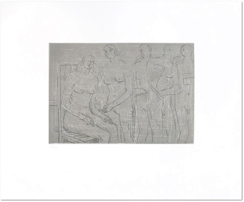 Henry Moore: Group of figures, 1974, Original lithograph on Rives paper, signed in pencil by the artist, editon of 65 + XXXV signed proofs, picture size: 22,8 x 33 cm, sheet: 45,2 x 56 cm, Reference Cramer Vol. II n° 341