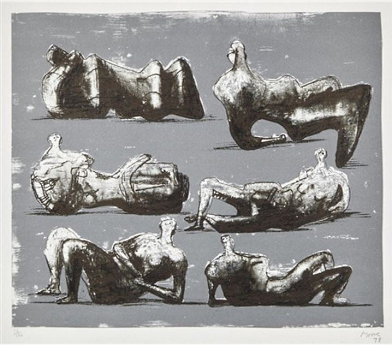 Henry Moore - Six Reclining Figures, 1973, Lithograph in colours on T H Saunders, Signed and dated in pencil and numbered (Edition 100) Image: 31.7 x 38 cm Sheet: 52 x 67.3 cm