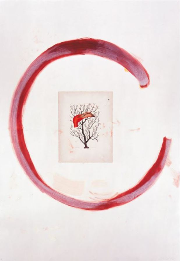 """Julian Schnabel Flamingo II 1991 Etching, aquatint, printed over collage, on rag paper, 198 x 137 cm (78 x 54""""). Edition of 48, signed and numbered."""