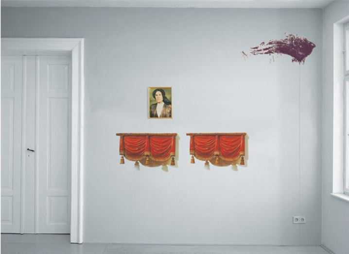"Julian Schnabel: 'Lost Relative', 1998, Multimedia wall painting. Photosilkscreen on acetate, framed photograph, silkscreen, and pencil line on the wall. Acetates 70 x 98 cm (27½ x 38¼ "") ea., photo, size: 41 x 30,5 cm (16 x 12""), silkscreen mark 104 x 46 cm (41 x 18""); overall installation size variable. Limited to 12 installations, with a signed and numbered certificate."
