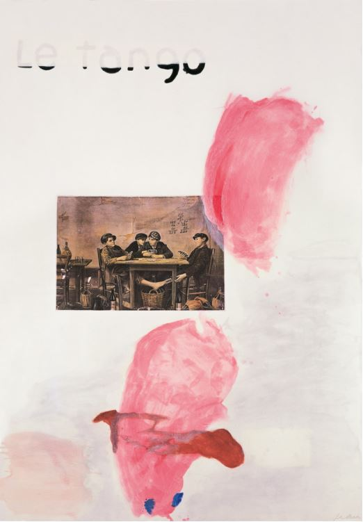 "Julian Schnabel Le Tango I 1991 Etching, aquatint, printed over collage, on rag paper, 198 x 137 cm (78 x 54""), signed and numbered. Edition of 48."