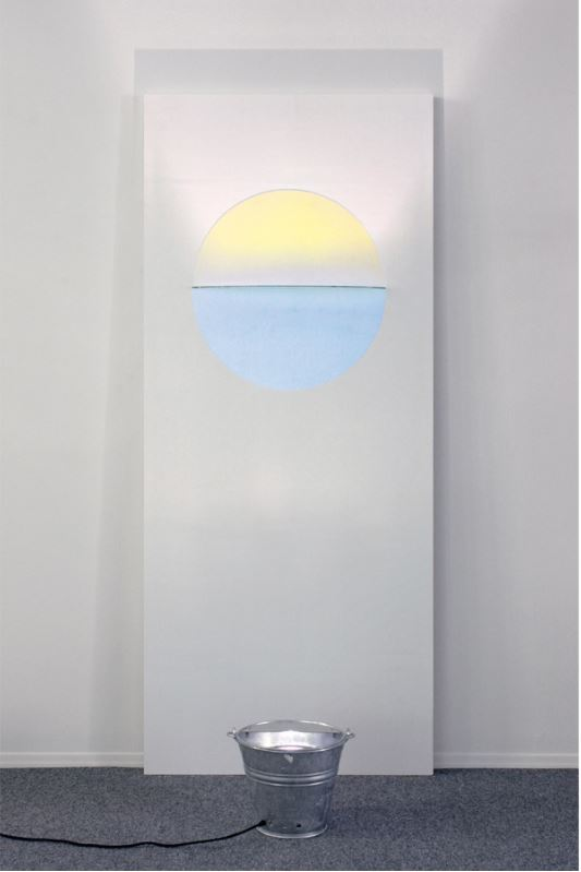 "Olafur Eliasson: 'Sunset Door', 2006, from Door Cycle, wooden door panel with color effect filter and light. Size: door 210 x 90 x 12 cm (82¾ x 35½ x 4¾""), bucket 28 x 30 cm diam. (11 x 12""). Edition: 15, signed and numbered on separate label."