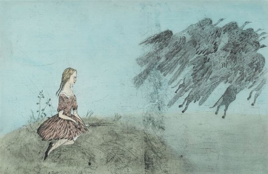 "Kiki Smith: ""Come Away From Her (After Lewis Carroll), 2003, Aquatint, drypoint, etching and sanding with watercolor additions on mould-made En Tout Cas paper, 50 1/2 × 74 in / 128.3 × 188 cm, Edition of 28"