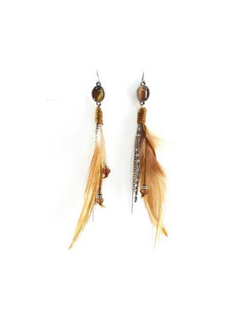 boucles d oreilles plumes dorees