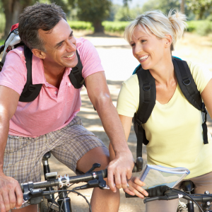 Older couple riding bikes