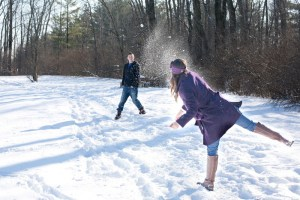 couple snowball fight
