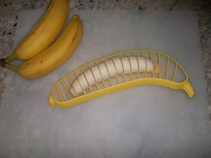 This is the Hutzler banana slicer in action easily slicing through a banana.