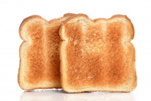 toasted bread on white background