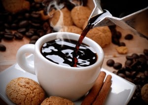 Fresh coffee with cookies.
