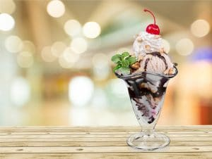 Sundae with homemade ice cream.