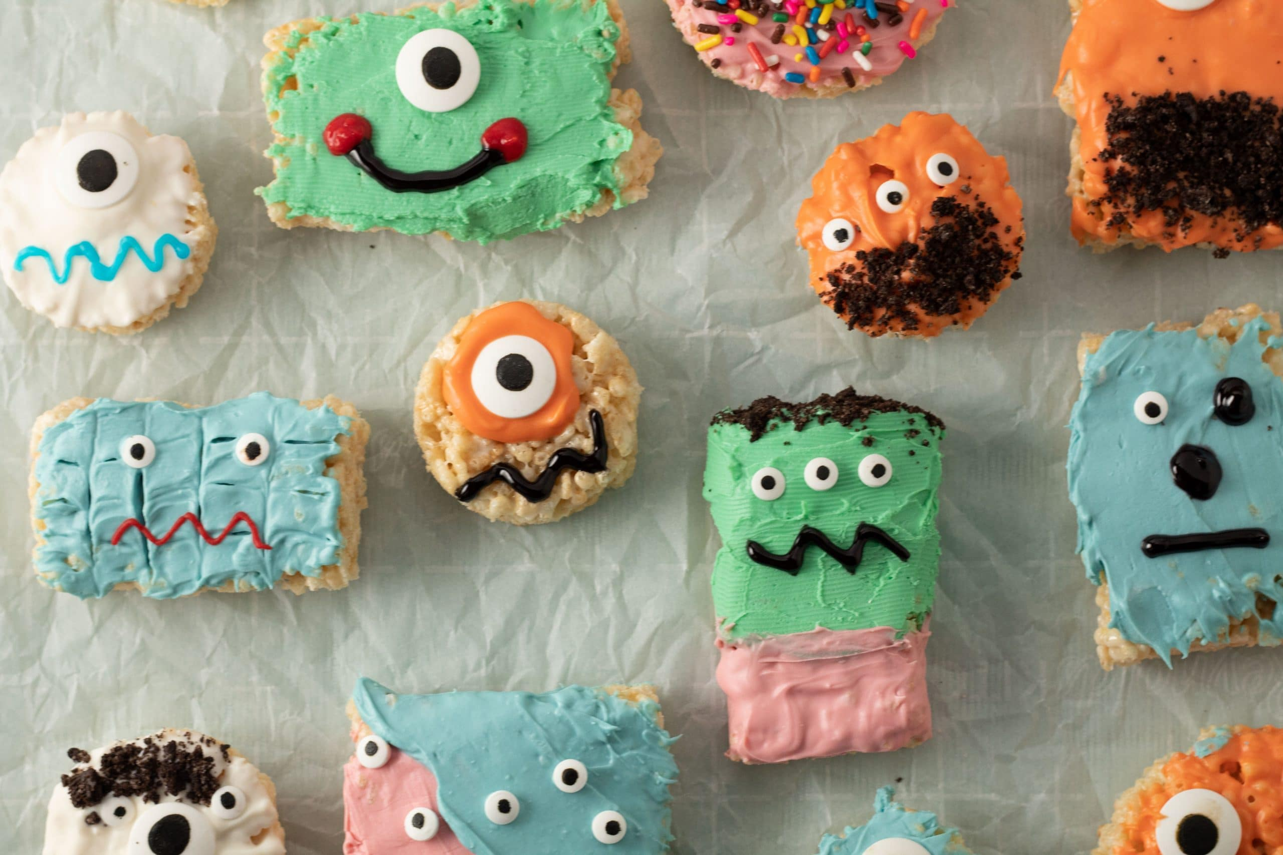 here is another easy to follow and fun halloween recipe for you to consider we had a blast making these silly faced halloween rice krispie treats