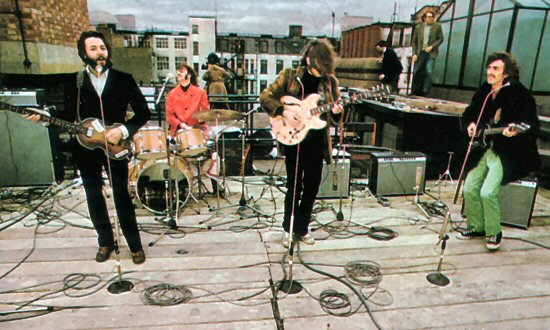 "The Beatles' rooftop concert at the end of ""Let it Be"""