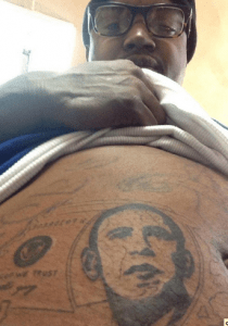 Lil Scrappy snapped a photo of a tattoo of President Obama's face on his stomach