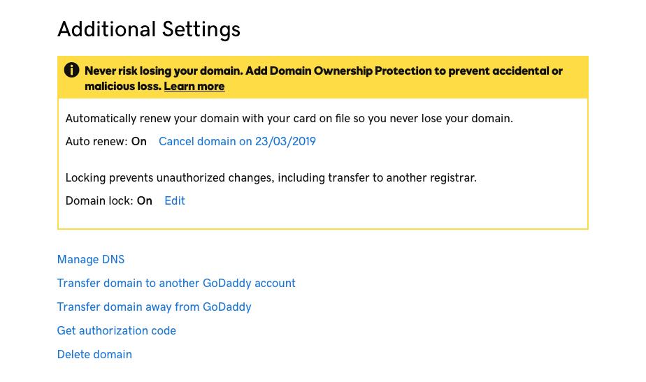GoDaddy DNS Change