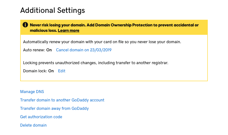 GoDaddy DNS Change