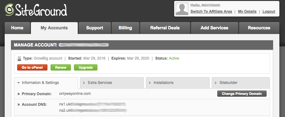 Siteground Manage Account