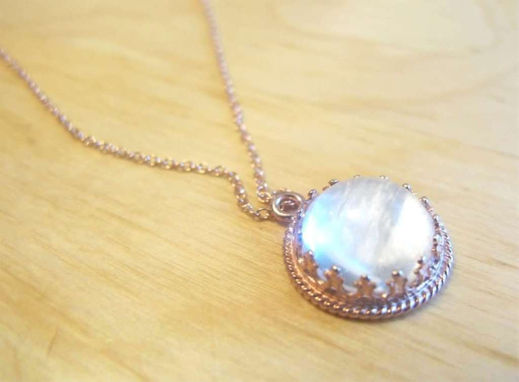Breast milk jewelry rose gold crown necklace from Precious Mammaries, yourbreastmilk.com