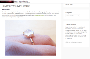 Precious Mammaries Breast Milk Jewelry Review from blogger Happy Human Pacifier