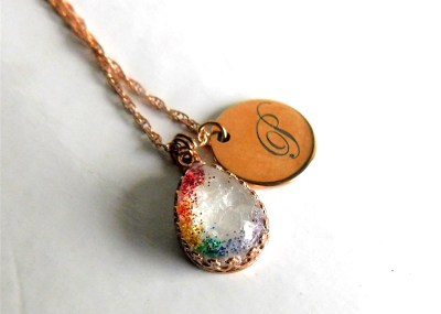 Rose Gold Breast Milk Crown Necklace - Rainbow Baby