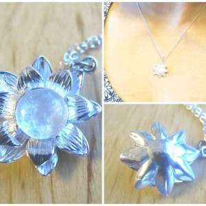silver white lotus breastmilk jewelry necklace from Precious Mammaries