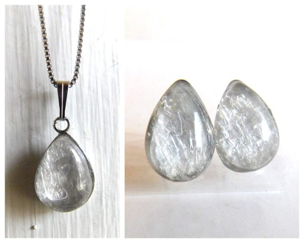 Breast Milk Jewelry SET Classic Milk Drop Necklace & Earrings Silver Stainless Hypoallergenic
