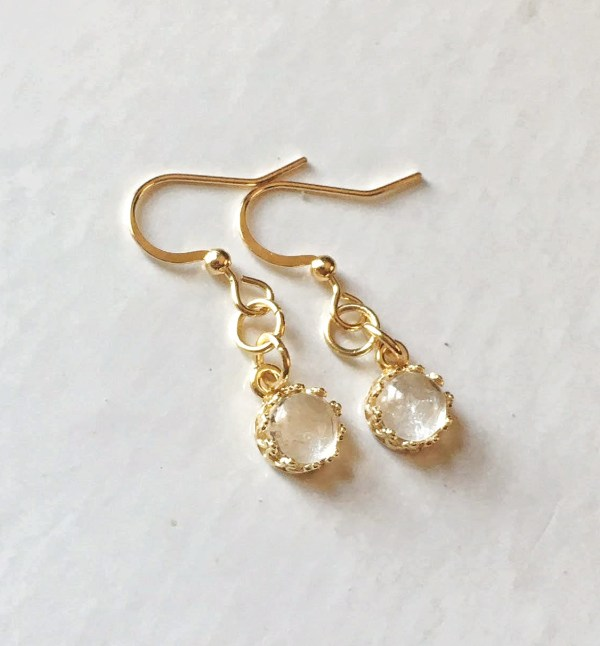 round crown gold breast milk dangling earrings