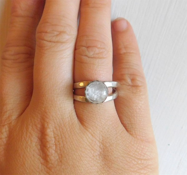 Double band sterling silver breastmilk ring jewelry