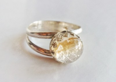 double band sterling silver crown ring