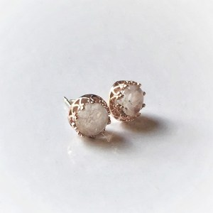 Red Queen Set_ Rose Gold Crown Round Stud Earrings