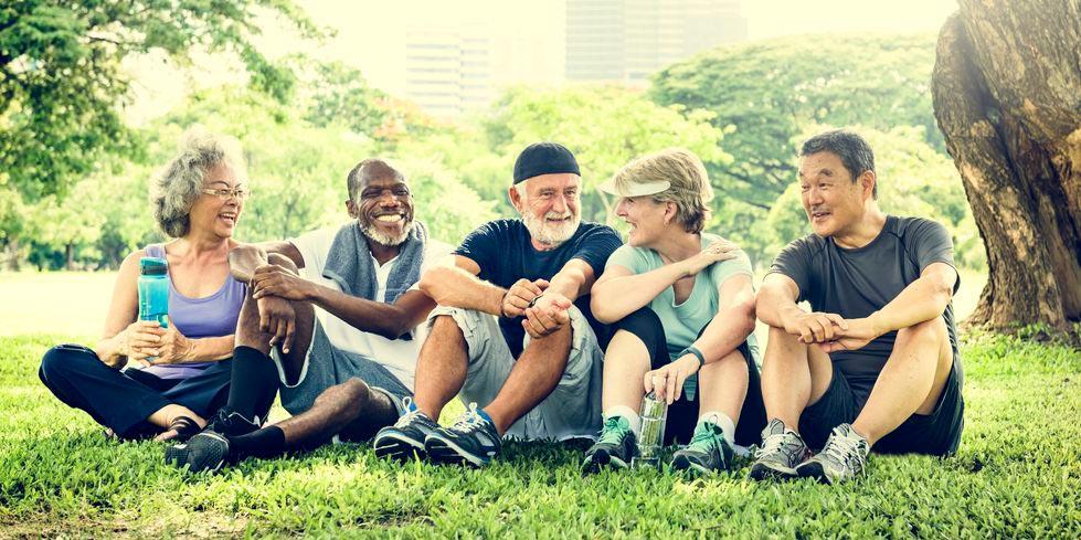 diverse seniors enjoying their free gym membership