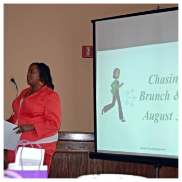 Arlett, of Chasing Joy, gets things started at the Chasing Joy Brunch and Learn.