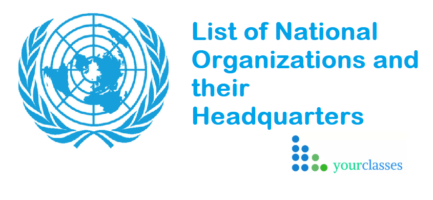List of National Organizations and their Headquarters