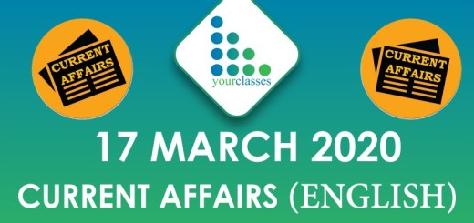 17 March Current Affairs 2020 in English