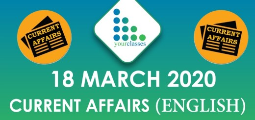 18 March Current Affairs 2020 in English
