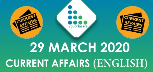 29 March Current Affairs 2020 in English