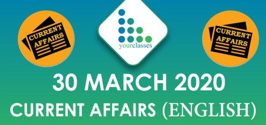 30 March Current Affairs 2020 in English