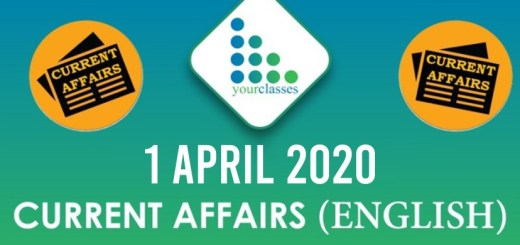 1 April Current Affairs 2020 in English